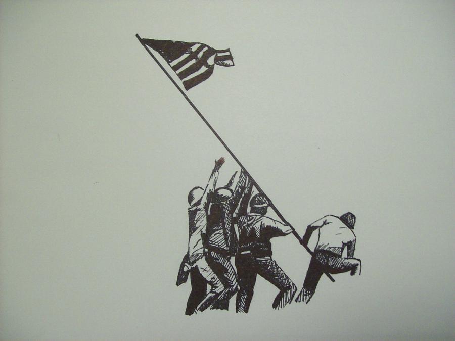 900x675 Raising At Iwo Jima Drawing By Jared Hester