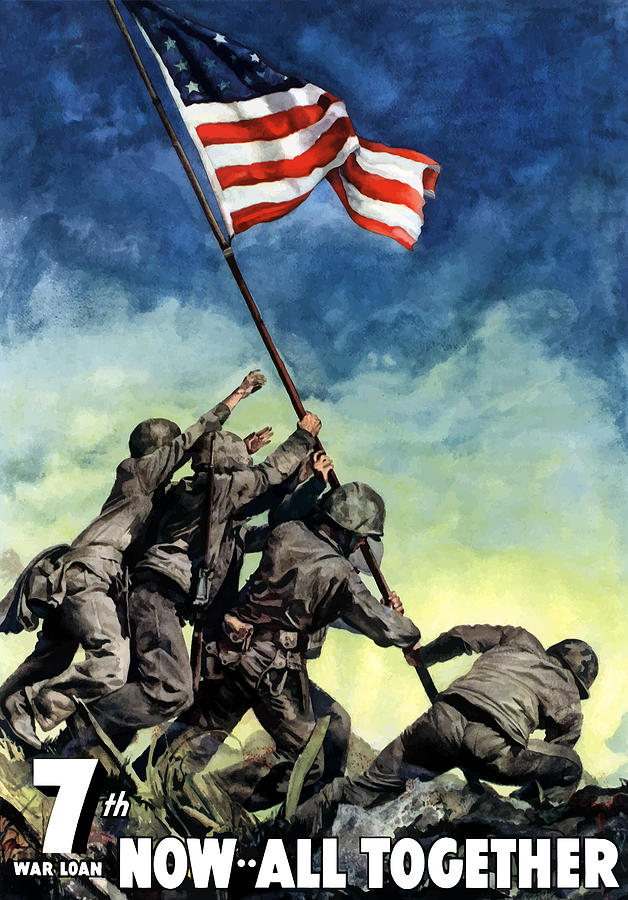 628x900 Raising The Flag On Iwo Jima Painting By War Is Hell Store