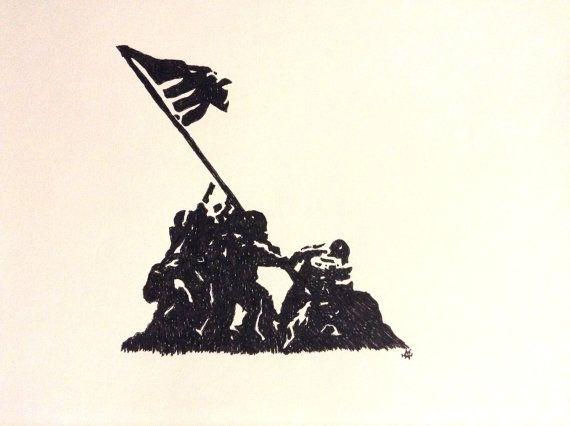 570x426 Raising The Flag On Iwo Jima Hand Drawn In Marker! Amazing