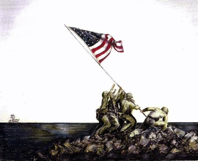 640x522 Ron Berry Artwork United States Marines On Iwo Jima Original
