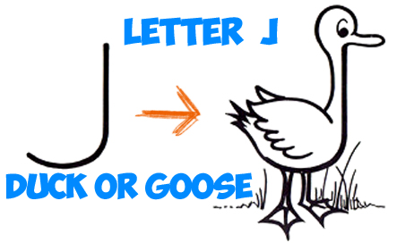443x272 How To Draw Cartoon Goose Or Duck From Letter J Shape