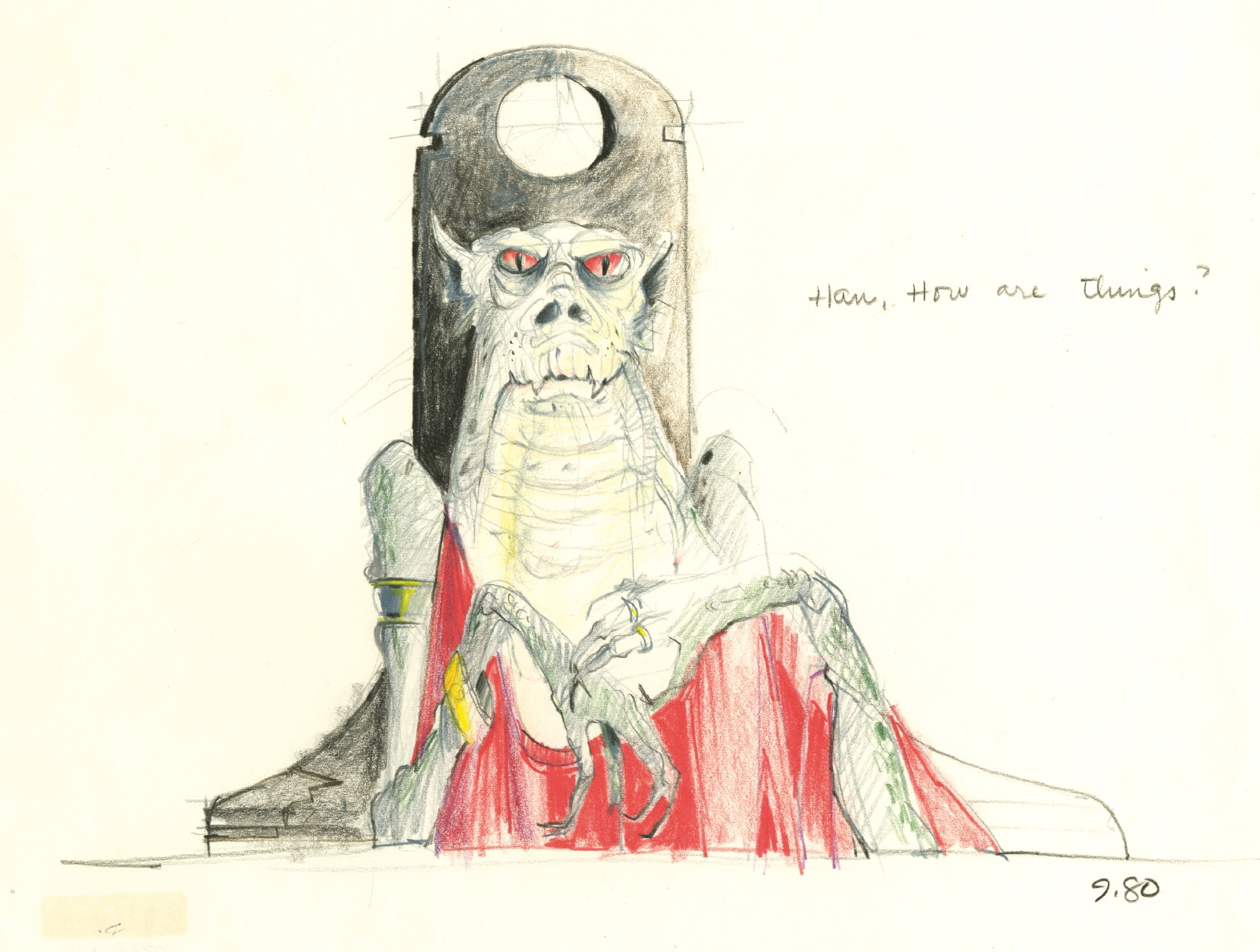 1573x1188 Early Concept Drawing For Jabba The Hutt Star Wars