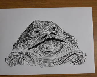 340x270 Han Solo And Jabba Hutt Original Pencil Drawing Star Wars