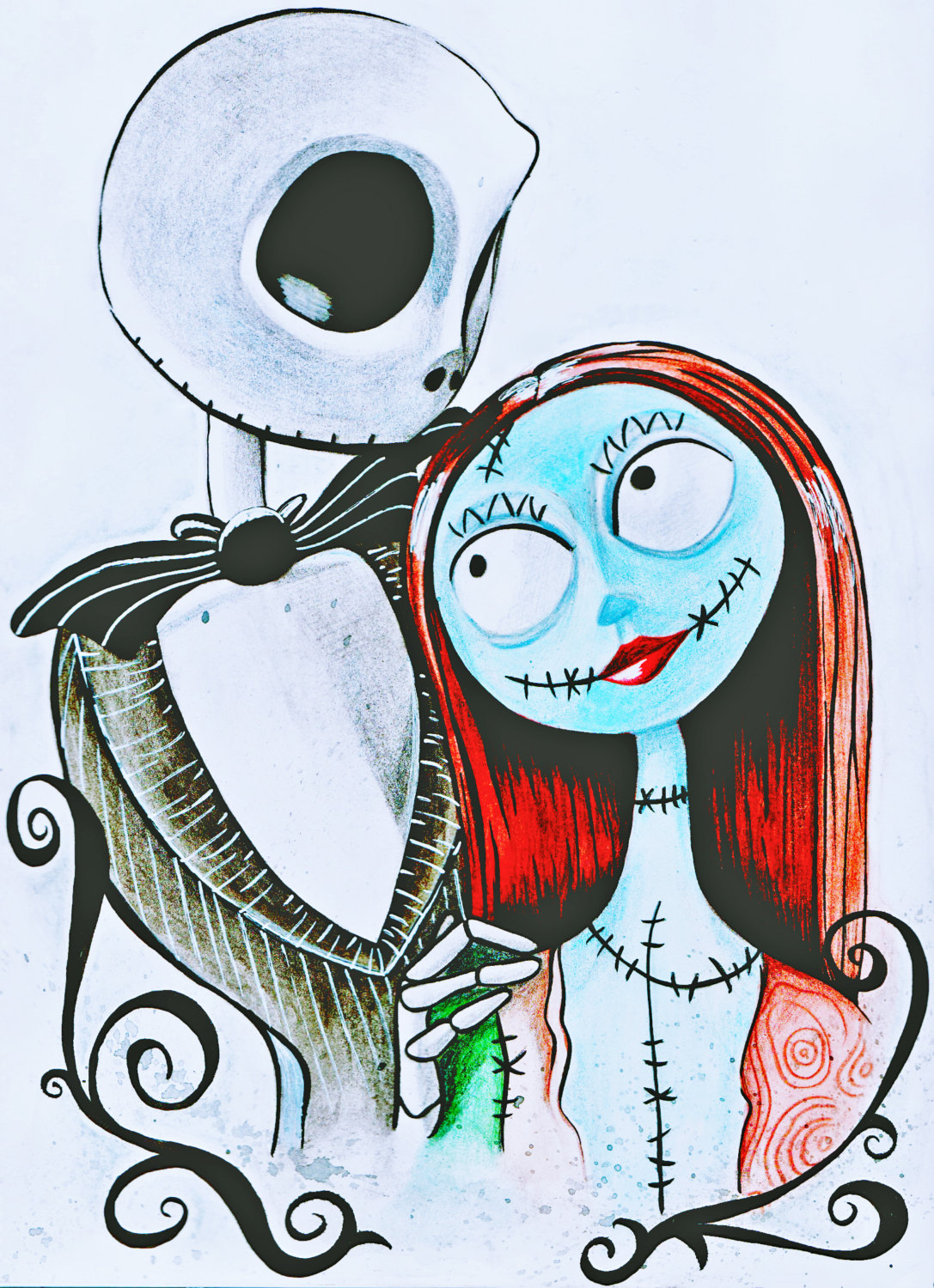 1087x1500 Tim Burtons Nightmare Before Christmas Jack And Sally A4