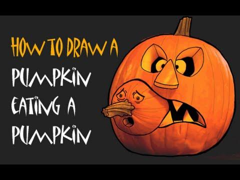 480x360 How To Draw A Halloween Pumpkin, Scary Jack O Lantern