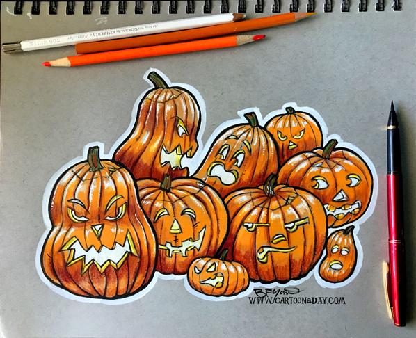 598x486 Sketchbook Halloween Jack O Lanterns Cartoon