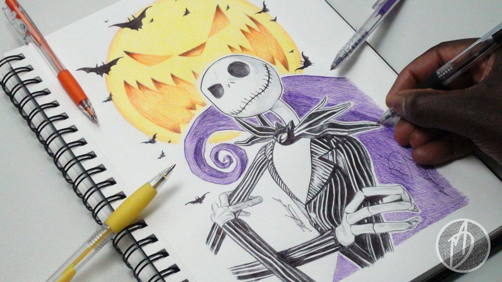 1024x576 Jack Skellington Ballpoint Pen Drawing By Demoose21