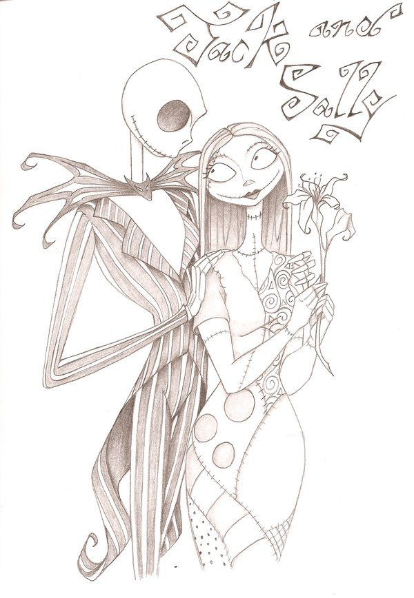 600x868 Jack Skellington And Sally Drawings Jack And Sally By Anyae