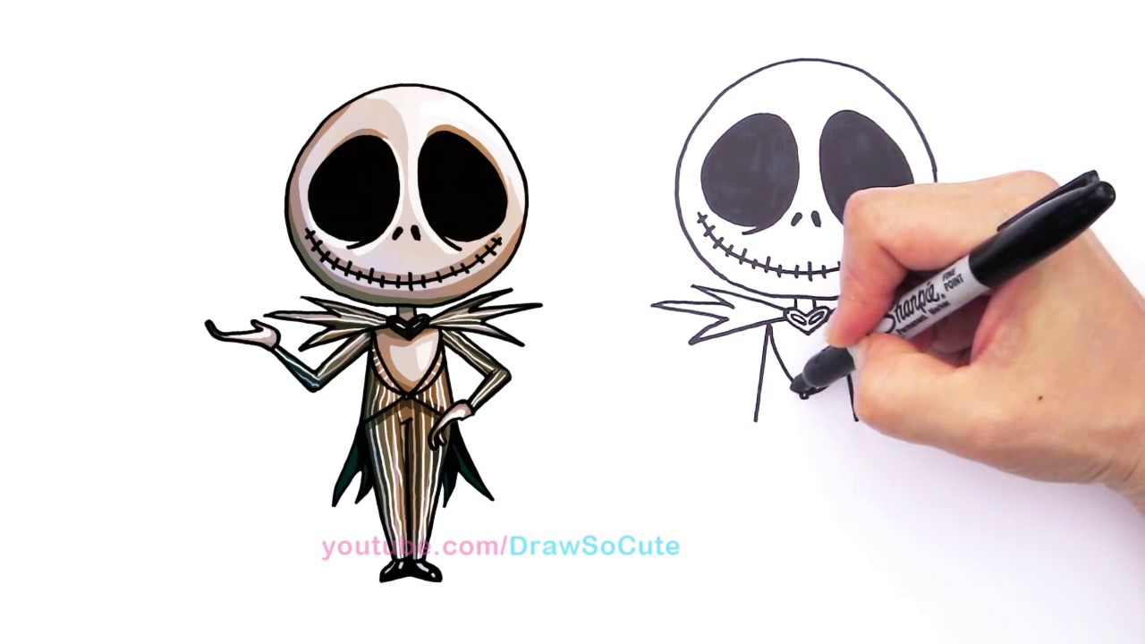 1280x720 How To Draw Animated Jack Skellington Pumpkin King Cute Step By
