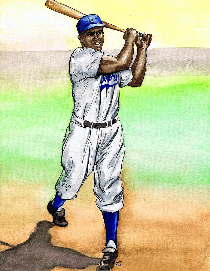 699x900 Jackie Robinson Drawing By Mel Thompson