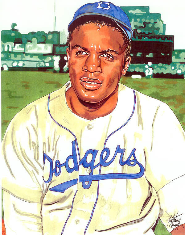 600x761 Jackie Robinson Drawing By Neal Portnoy