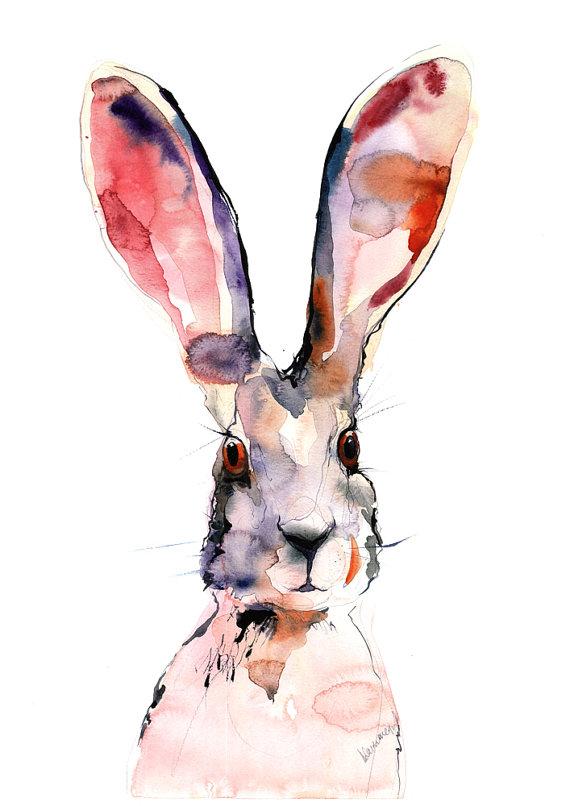 570x806 Easter Bunny Digital Watercolor Print A4 A3 8x11 11x16.