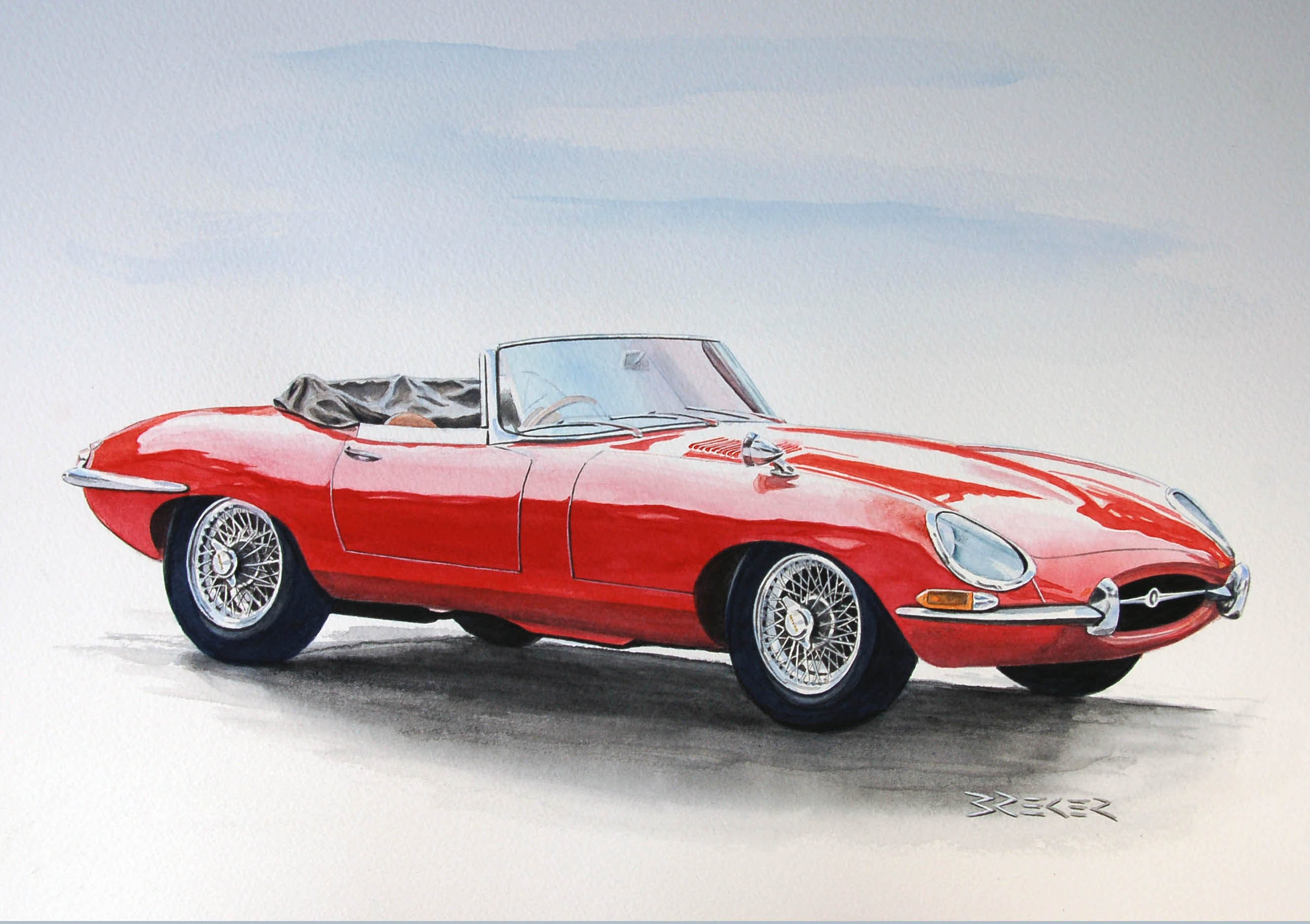 2649x1869 Autozeichnung Car Drawing Classic Cars Jaguar BMW Mercedes