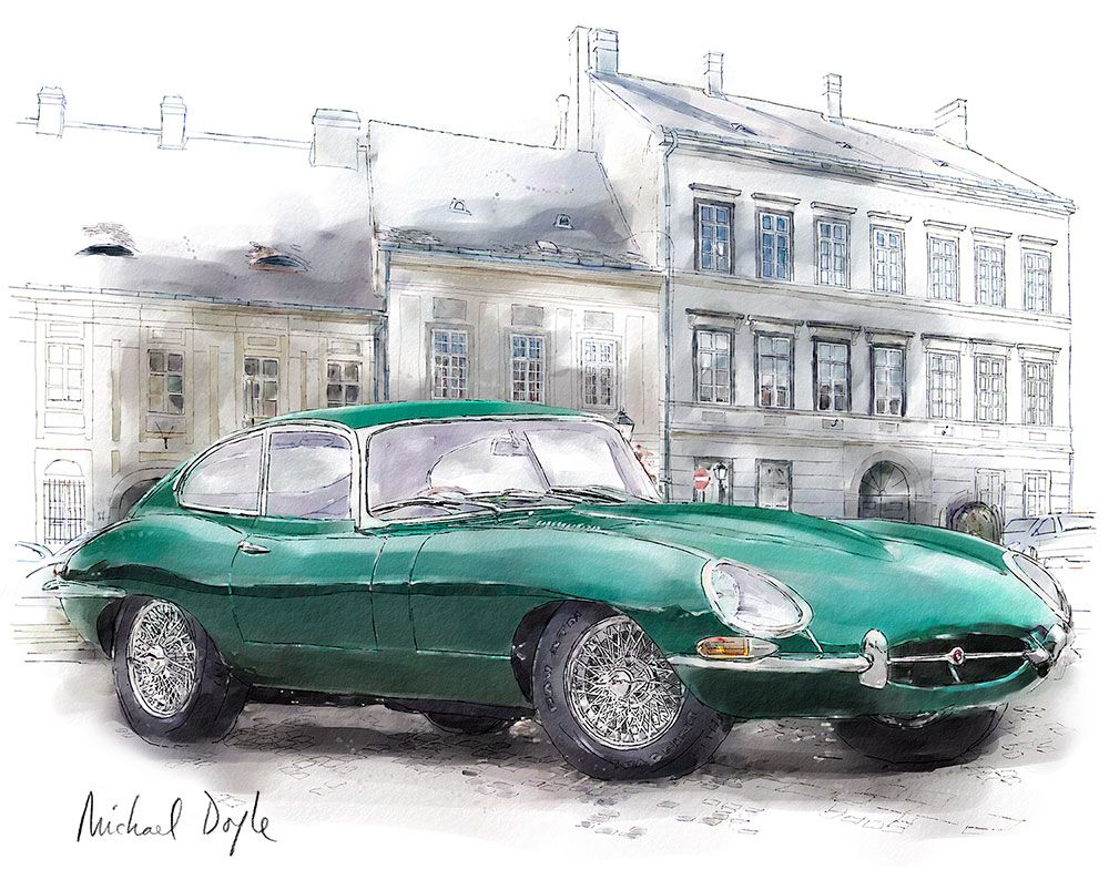 1000x794 Jaguar E Type, Classic Car Illustration