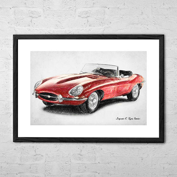 570x570 Jaguar E Type Drawing Jaguar Car British Classic Car Drawings