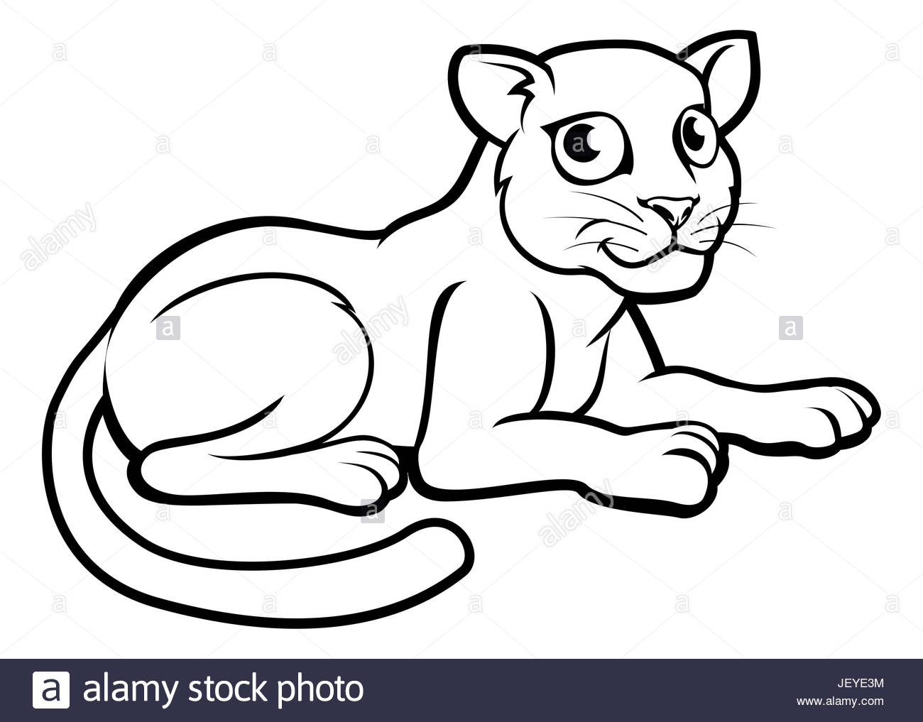 1300x1017 A Leopard, Jaguar Or Panther Cartoon Character Outline Coloring