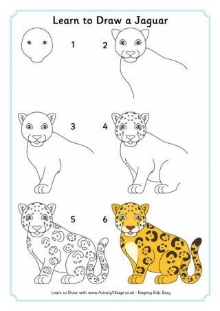 320x452 Learn To Draw A Jaguar Dibujo Doodles, Simple