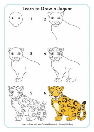 320x452 Learn To Draw A Jaguar Parentingkid Stuff