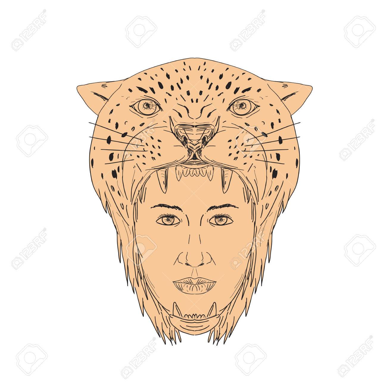 1300x1300 Illustration Of A Female Aztec Warrior Wearing Jaguar Head