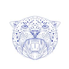 225x225 Jaguar Head Side Growling Circle Retro By Patrimonio Retro T