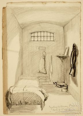 288x400 1912. Drawing By Kaite Gliddon Of Her Holloway Prison Cell