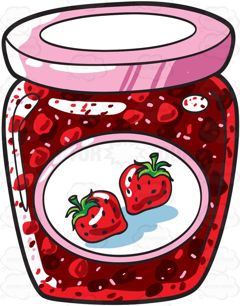 803x1024 A Jar Of Strawberry Jam Cartoon Clipart