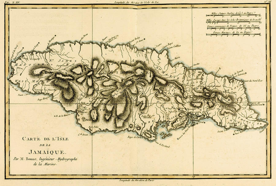 900x608 Map Of Jamaica Drawing By Guillaume Raynal