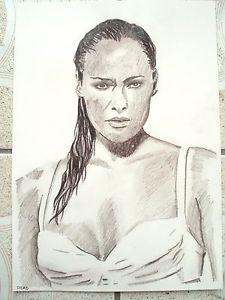 225x300 A4 Charcoal Sketch Drawing James Bond Girl Ursula Andress As Honey