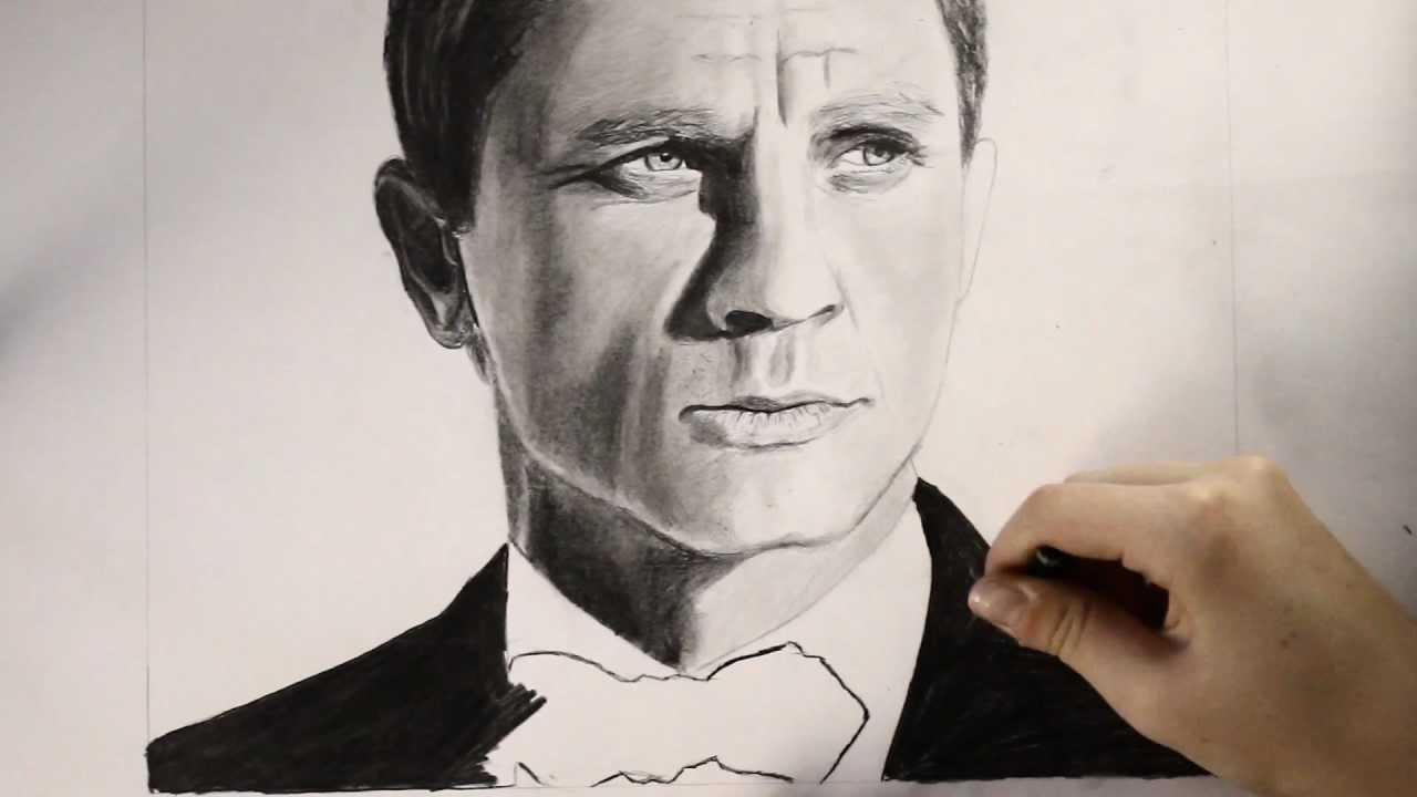 1280x720 Daniel Craig As James Bond Speed Drawing