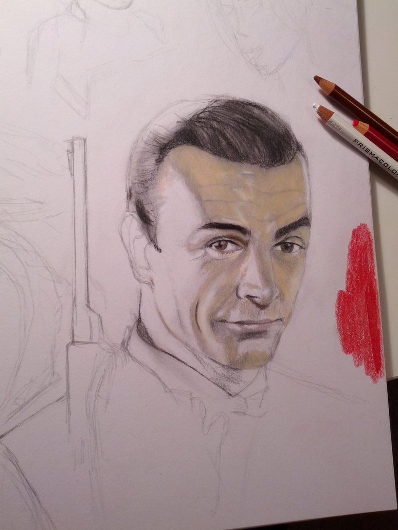 774x1032 Wip) Sean Connery James Bond Drawing By Ntg Artistry