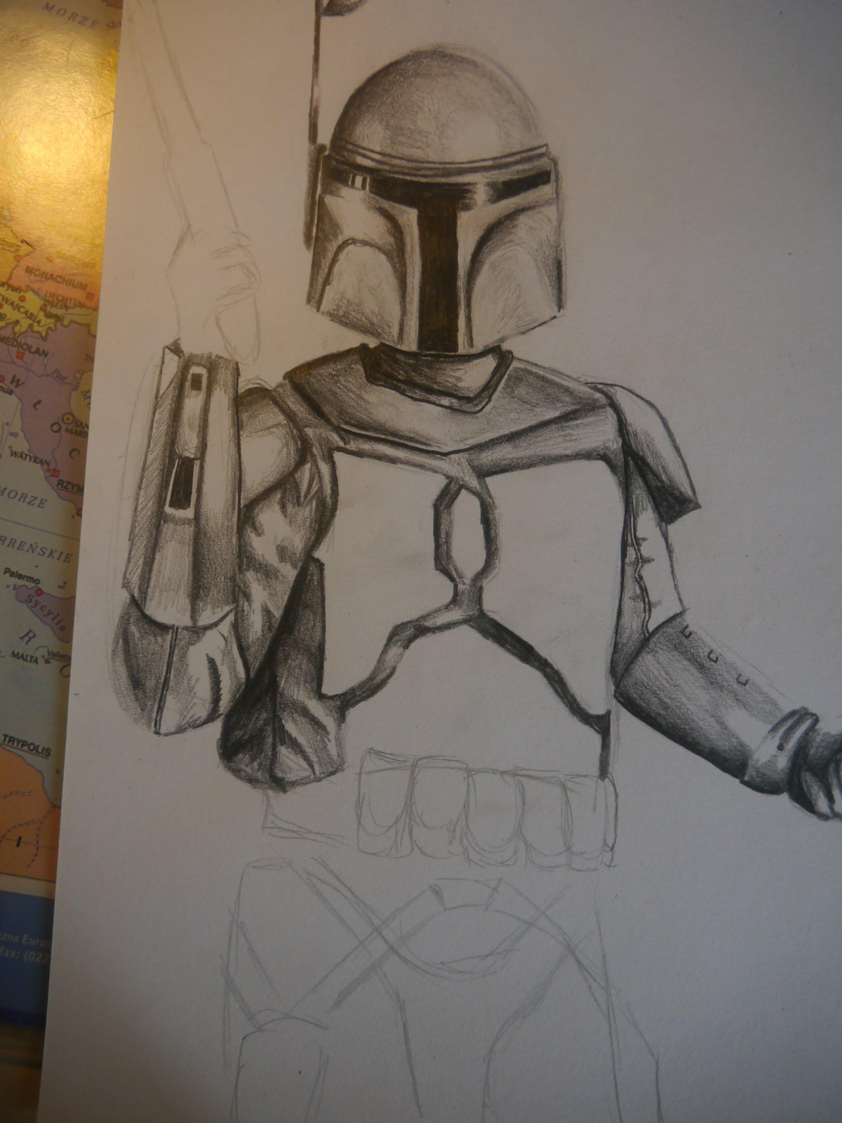 1704x2272 Drawing Jango Fett (Star Wars)rysowanie Jango Fett'A (Gwiezdne