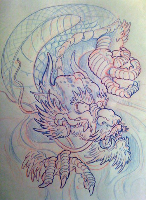 500x685 Client Request Tattoo Design Medium Blue Pencil Pencil