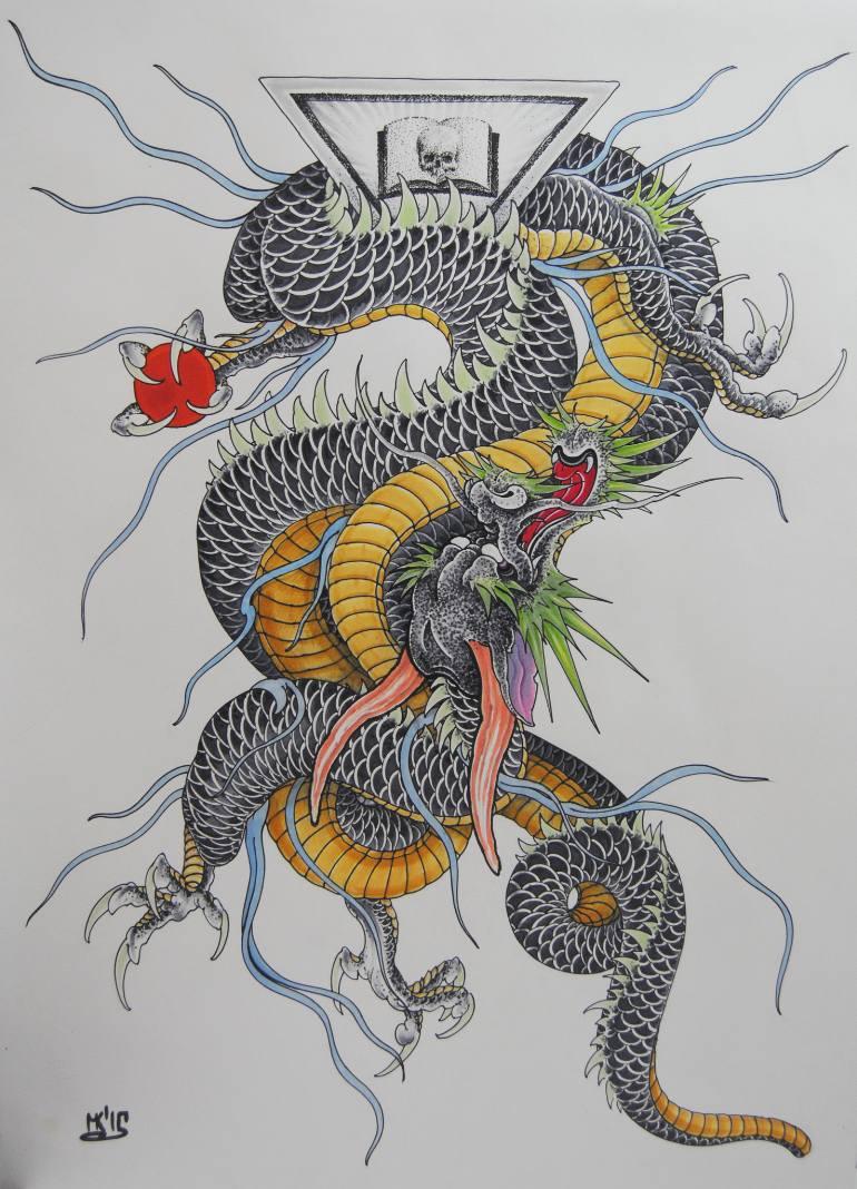 770x1068 Saatchi Art Japan Dragon Drawing By Maxim Kokin