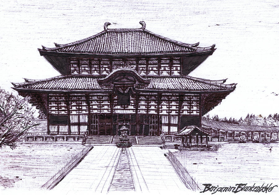 900x630 Ancient Japanese Architecture Drawing