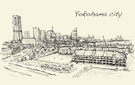 450x283 City Scape Skyline Of Yokohama In Japan Free Hand Drawing, Royalty