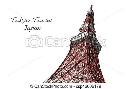 450x303 Voctor Sketch Of Tokyo Tower In Japan, Free Hand Draw Vectors