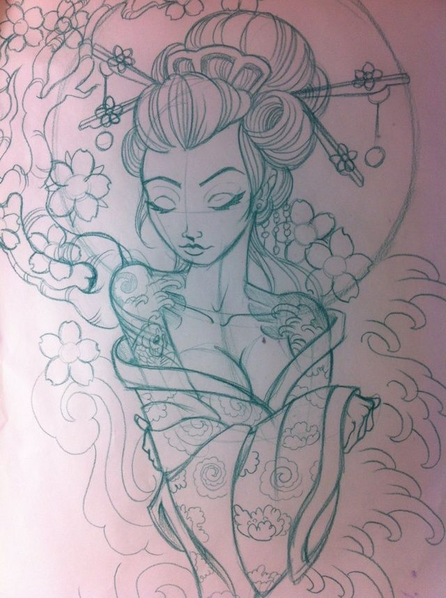 640x858 Geisha Sketch Japanese Geisha Sketch By ~5stardesigns