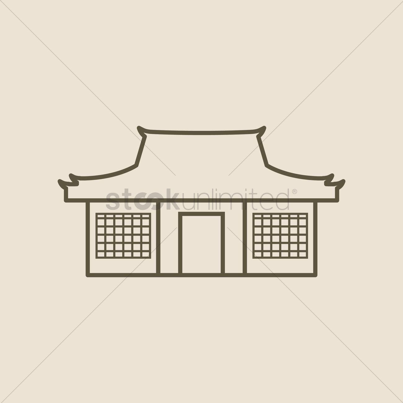 1300x1300 Traditional Japanese House Vector Image