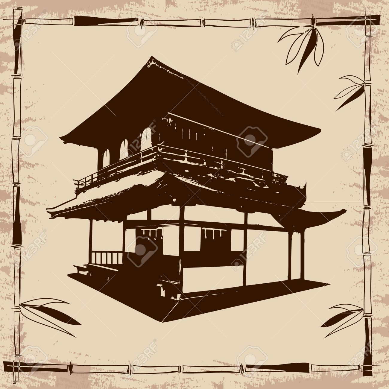 1300x1300 Vector Drawing Japanese House And Branches Of Bamboo On Beige