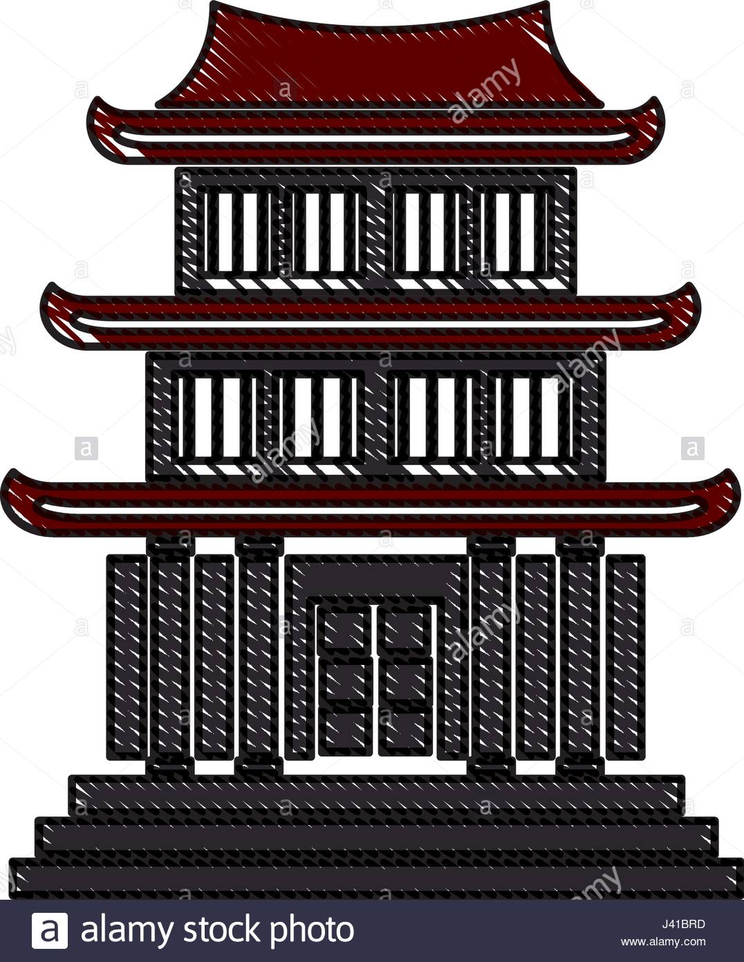 1076x1390 Drawing House Japanese Traditional Chinese Facade Stock Vector Art
