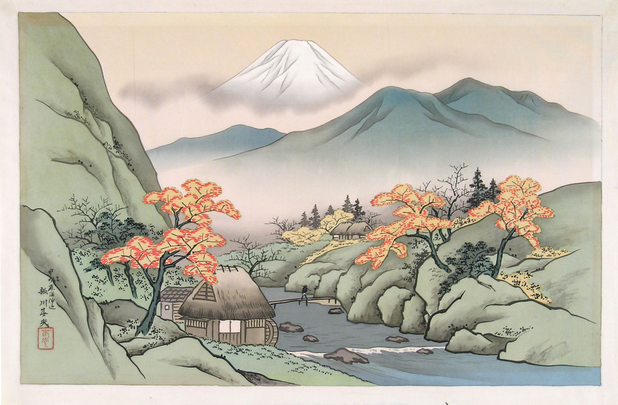 2013x1321 Harumitsu, Landscape With Mount Fuji And A Torrent
