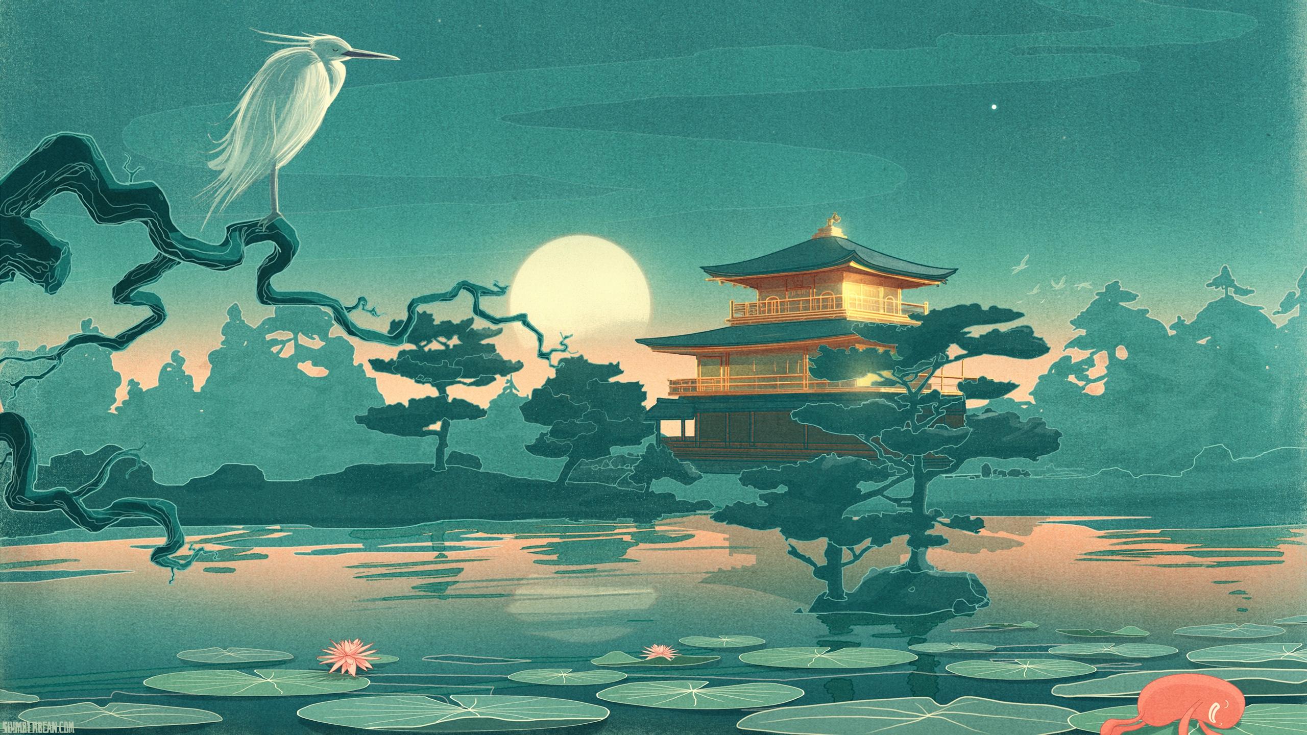 2560x1440 Wallpaper Heron, Lily, Trees, Temple, Moon, Drawing, Lake, Night