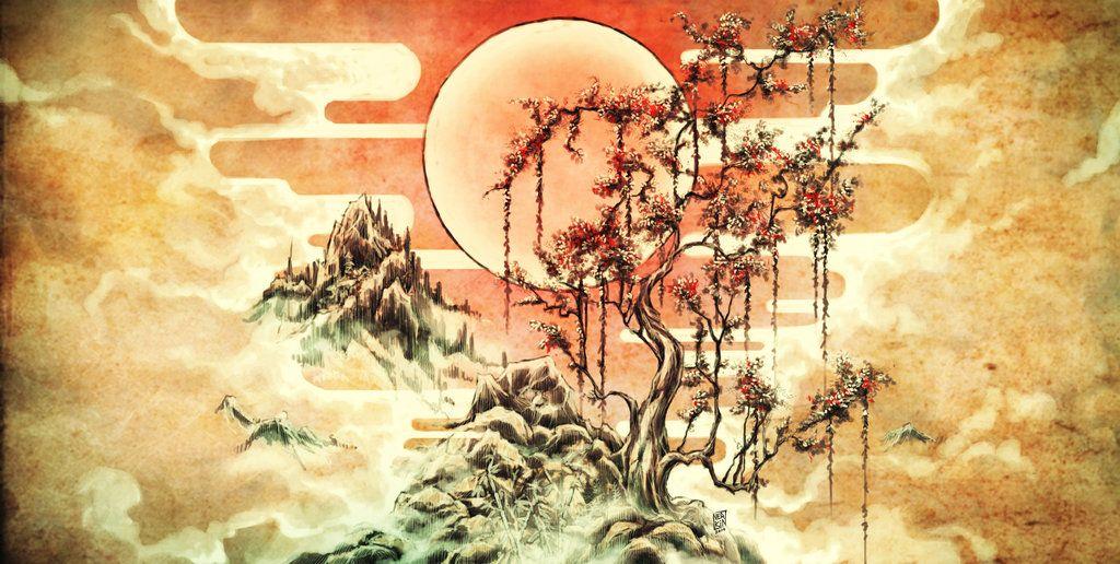 1024x516 Japanese Landscape Drawing Japanese Landscape By Nerkin Tattoo