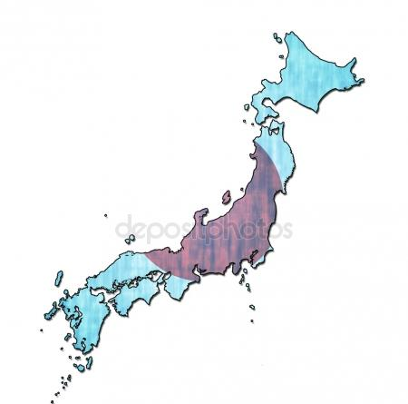 450x445 Japan Map On Japan Flag Drawing ,grunge And Retro Flag Series