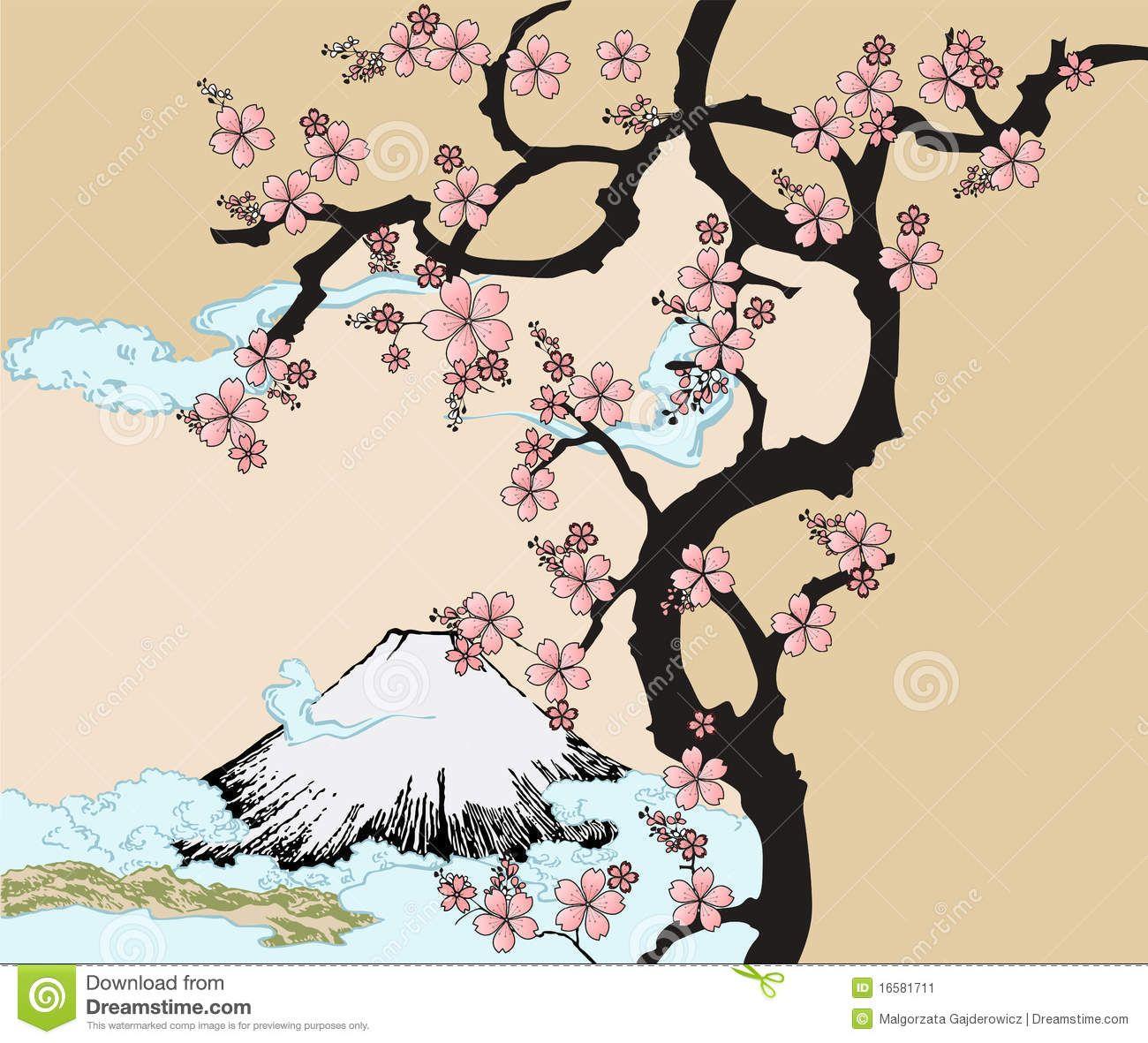 1300x1181 Sakura Tree Drawing Inspired By Traditional Japanese Art
