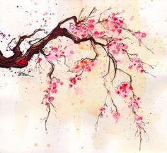 236x217 Japanese Cherry Blossom Watercolor Painting
