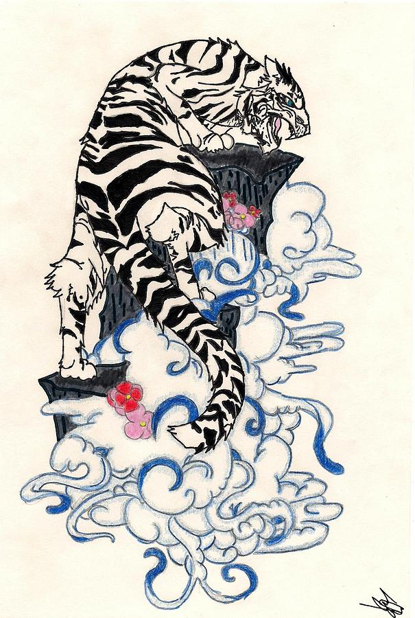 605x900 Traditional Japanese Style Tiger Drawing By Crisol Campos