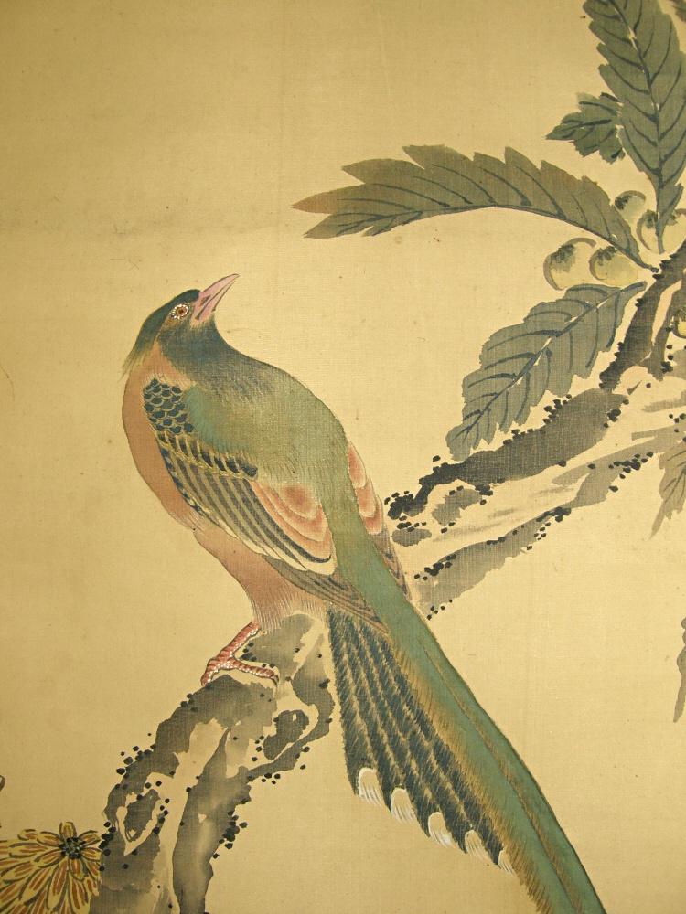 750x1000 Ss 50157 [ Bird Amp Flowers ] Japanese Kachoga Painting For Sale