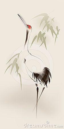 225x450 Japanese Cranes Birds Drawing