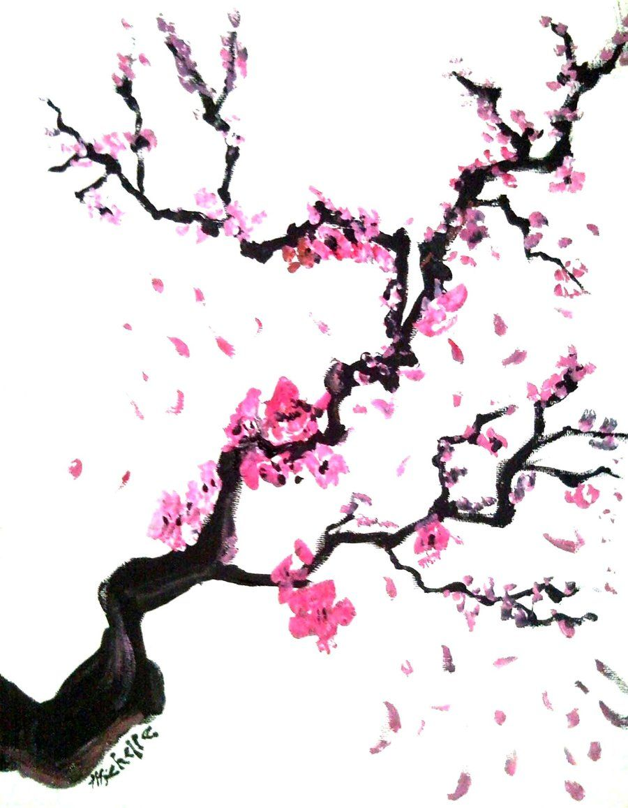 900x1157 Japanese Cherry Tree Gradification Watercolors
